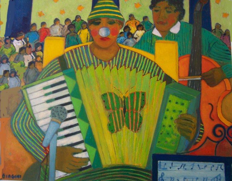 Fisarmonica al circo Olio su cartone 60x70. Anno2012