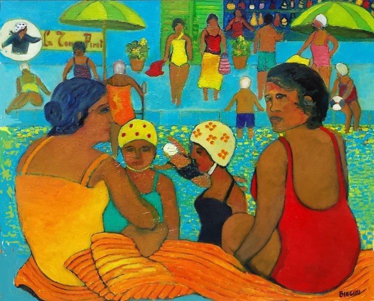. Donne in piscina Olio su cartone 69x70  Anno 2017  Coll. Privata