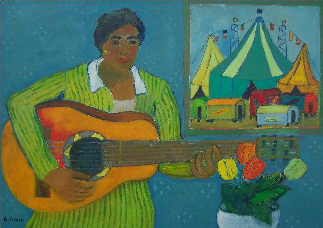 Donna con chitarra -Olio su tela 50x70    Anno 2012