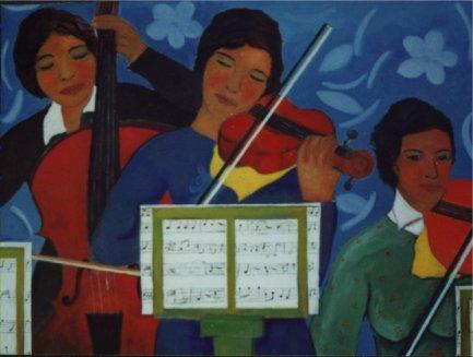 Le musiciste. Prova d'orchestra - Olio su tela 60x80    Anno 2002   Coll. Privata