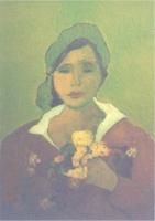 1998 Donna con fiori gialli Olio su tela 40x50 Coll.Privata