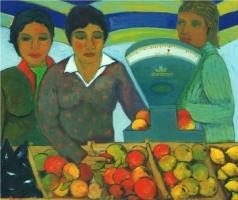 Al mercato - Olio su cartone 60x70 Anno 2004 Coll. Privata