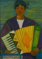 Donna con fisarmonica - Olio su cartone 50x70 Anno 2011 Coll. Privata