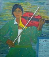 Donna con violino -Olio su cartone 60x70 Anno 2012 Coll. Privata