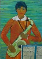 Donna con sassofono Olio su cartone 50x70 Anno 2014