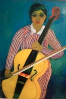 2019  Donna con violoncello Olio su cartone 50x70