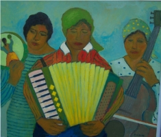 Musica in campagna - Olio su cartone 60x70 Anno 2011