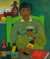 Donna con bottiglie Olio su cartone 60x70 Anno 2014 Coll. Privata