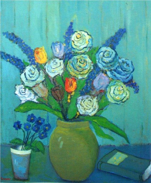 Rose su fondo verde - Olio su tela 50x60 Anno 2002 Coll. Privata