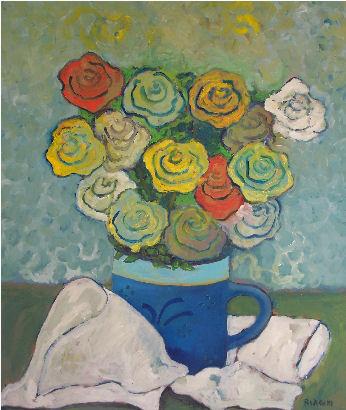 Rose - Olio su cartone 60x70 Anno 2010 Coll. Privata