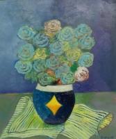 Rose blù Olio su cartone 50x60 Anno 2015