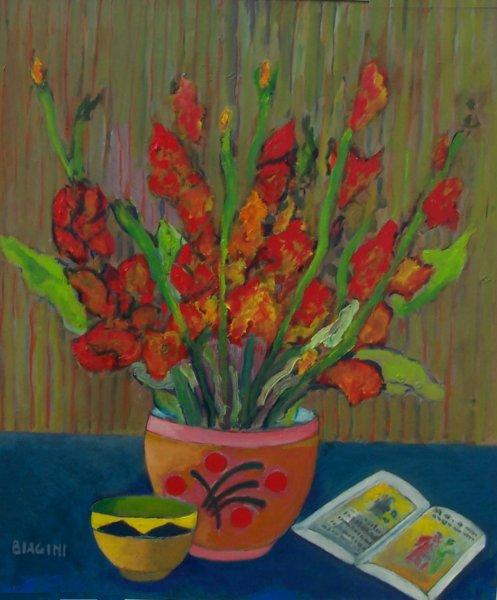 Gladioli-olio su -cartone 60x70 -Anno-2013 Coll. Privata