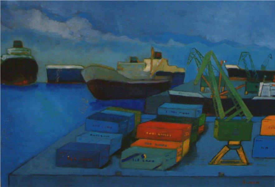 Containers - Olio su compensato 58x80  Anno 1998   Proprietà  INCA  Donoratico