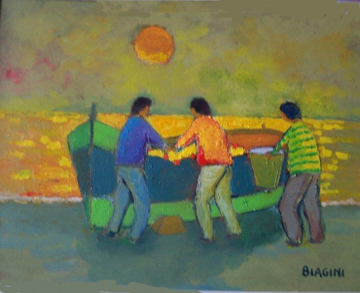Pescatori con cielo giallo  Olio  sucartone 30x40. Anno 2012 Coll. Privata