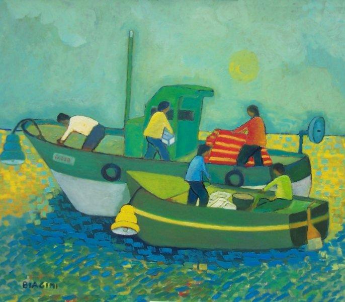 2014  Due barche con lampare in alto mare Olio su cartone 60x70.jpg