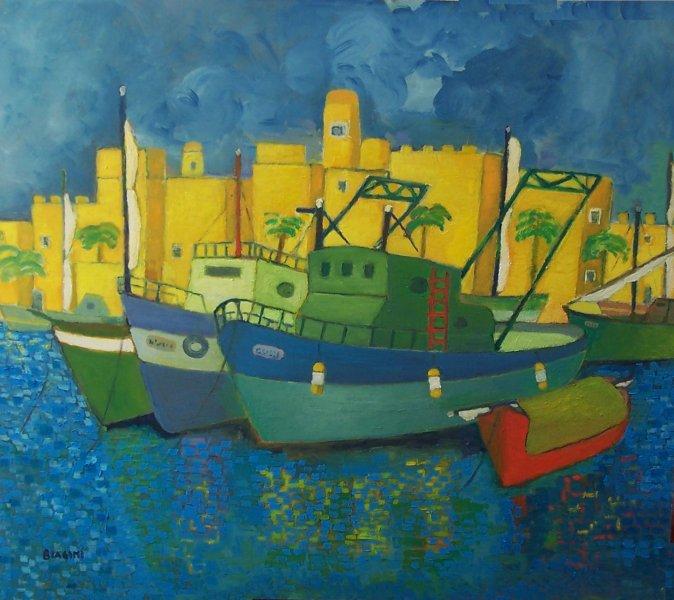 Porto Mediterraneo  OLio su cartone 80x75  Anno 2014