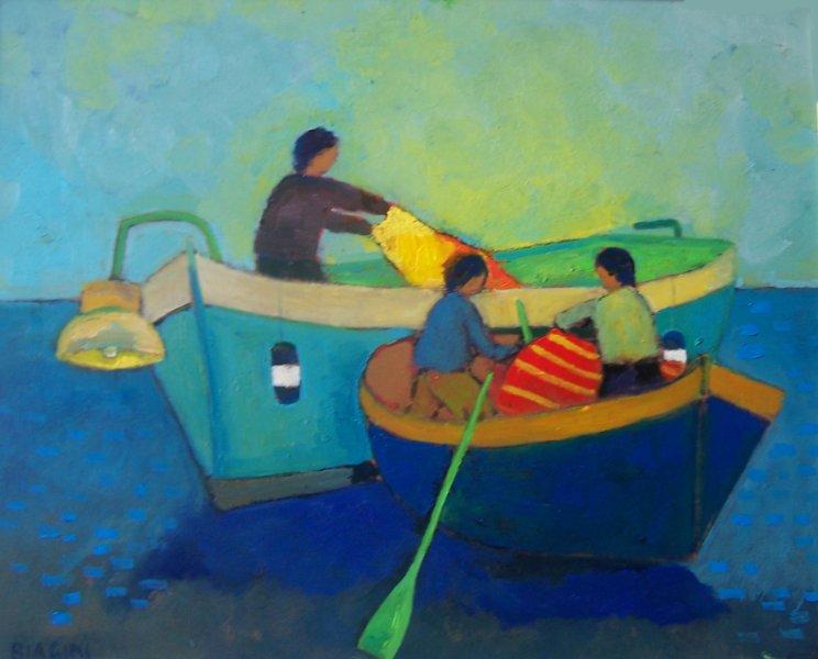 2015  Due barche  Olio su cartone 40x50.jpg