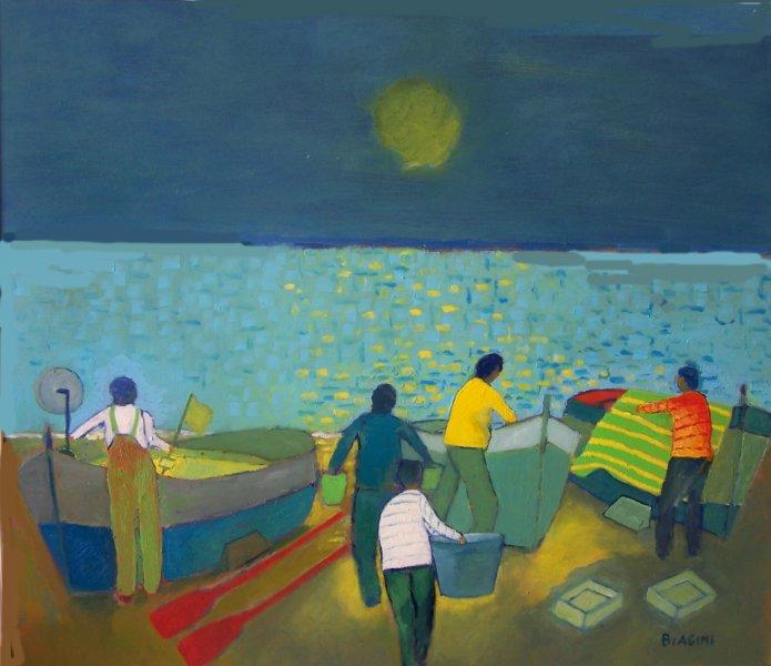 2015  Scena di pescatori sulla spiaggia  Olio su cartone 60x70  Anno  2015.jpg