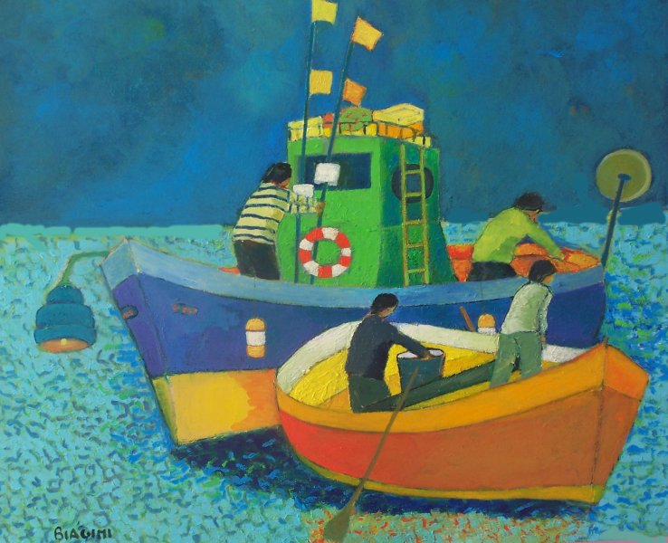 2015  Scena marina con peschereccio  Olio cartone 60x70.jpg