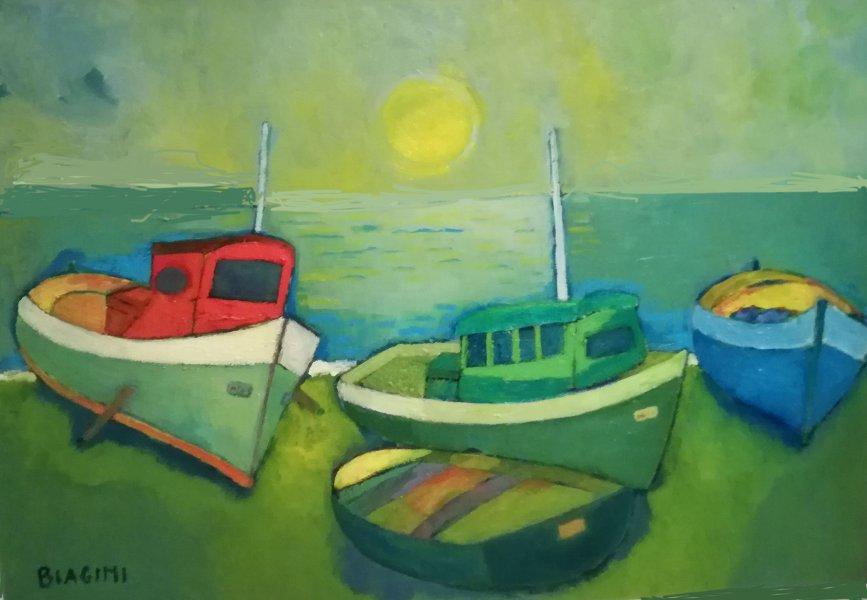 2016  Barche scoperte sulla spiaggia  Olio  su cartone 50x70