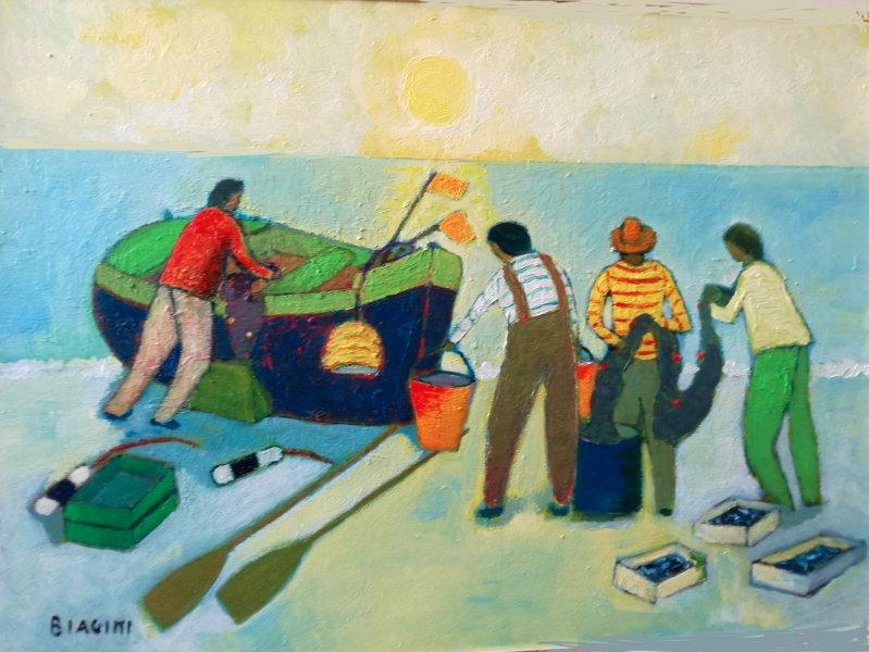 2018  Pescatori sulla spiaggia  Olio su cartone 50x70