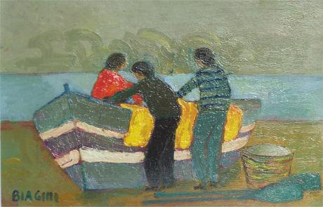 Pescatori con cielo grigio - Olio su cartone 20x30  Anno 2007  Coll. Privata