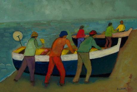 La barca e i pescator - Olio su cartone 50x70 Anno 2009  Coll. Privatai