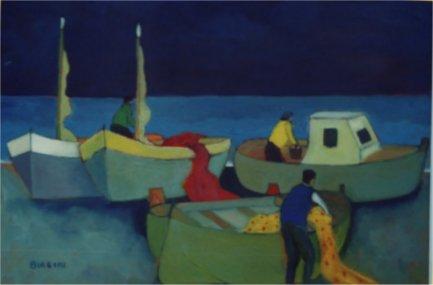 Marina verso sera - Olio su tela 50x70 Anno 2002  Coll. Privata