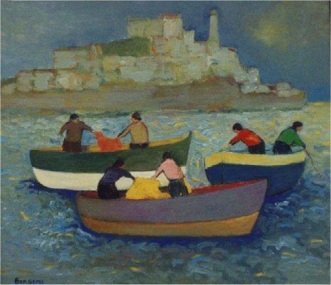Pescatori a Portoferraio - Olio su cartone 60x70  Anno 2003  Coll. Privata