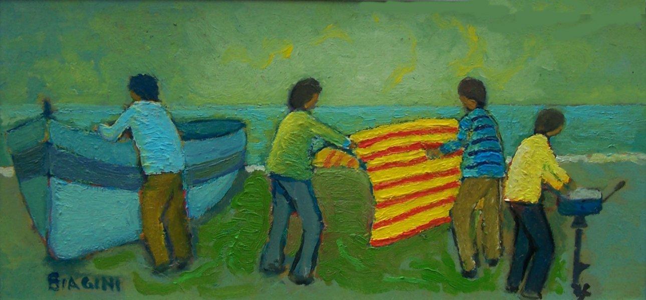 Pescatori con cielo verde  Olio su cartone 19x40  Anno 2010  Coll. Privata