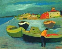 Barche sulla spiaggia .- Olio su tela 40x50  Anno 2002  Collez. Privata