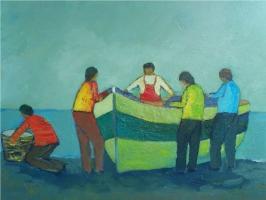 Barca  e pescatori sulla spiaggia  Olio su cartone 40x50  Anno 2006  Coll. privata