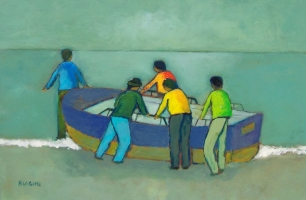 Barca al Circolo Nautico - Olio su cartone 40x60  Anno 2012 Coll Privata