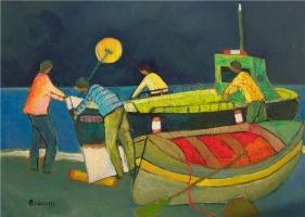 Barche a riva - Olio su cartone 50x70  Anno 2012