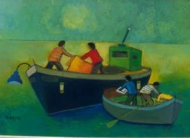Scena di mare  Olio su cartone 50x70  Anno 2013
