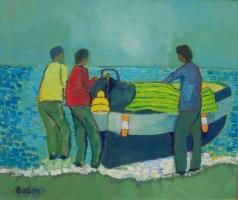 La copertura della barca a riva  Olio su cartone 50x60  Anno 2014  Coll. Privata