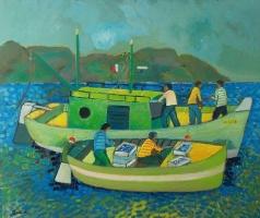 Scena marina  Olio su cartone 60x70  Anno 2012