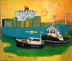2018. Fuori dal porto  Olio su cartone 60x70