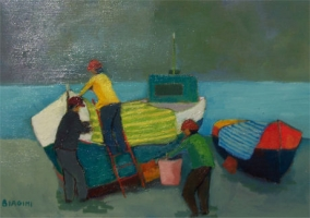 Pescatori al lavoro - Olio su tela 40x50  Anno 2008