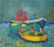 Peschereccio e due barche in alto mare Olio su cartone 60x70  Anno 2012  Coll. Privata