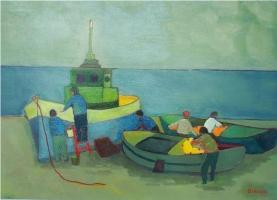 Pescatori al rientro / Riparazioni - Olio su cartone 50x70  Anno 2008