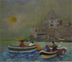 Pescatori a San Pietro (Portovenere) - Olio su cartone 60x70  Anno 2003  Coll. Privata
