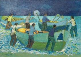Scena di pescatori - Olio su cartone 50x70  Anno 2012  Coll. Privata