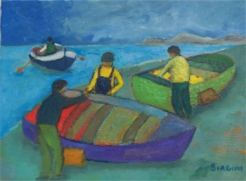 Barche - Olio su tela 30x40  Anno 2007  Coll.  Privata