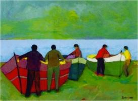 Barche sulla spiaggia - Olio su cartone 60x80  Anno 2006