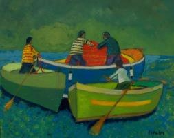 Tre barche al largo  - Olio su cartone 40x50  Anno 2012  Coll. Privata