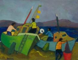 Barche in riparazione con pescatori  Olio su cartone 30x40  Anno 2013