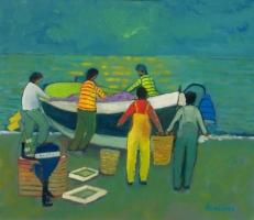 Pescatori con cielo verde - Olio su cartone 50x60  Anno 2012