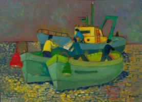 Scena di mare con barche e peschereccio - Olio su  cartone 50x70   Anno  2013  Coll. Privata                                0 Coll' Privataa0  Anno 2013