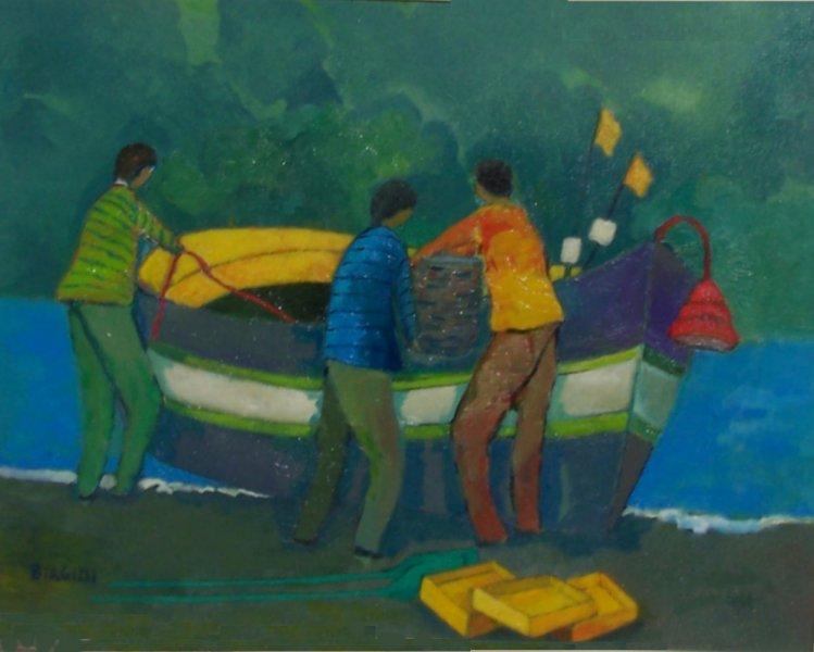Pescatori con cielo verde  Olio su tela 60x80  Anno 2014